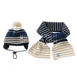 Комплект шапка+шарф для мальчика Wojcik WANT TO BE A TRAIN DRIVER (CHCĘ ZOSTAĆ MASZYNISTĄ) 68-98