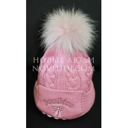 Зимняя шапочка для девочки с натуральным помпоном Pilguni