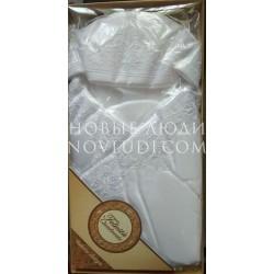 Белый шелковый конверт одеяло с капюшоном на выписку ROYAL GLUCK
