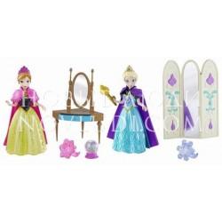 Disney Princess. Куклы Принцессы Дисней Анна & Эльза, из м/ф Холодное Сердце, в наборе с аксессуарами, 13,9х5,7х16,6см