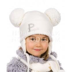 Комплект для девочки шапка+шарф Pupill