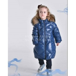 Пальто для девочки Pilguni с натуральной опушкой