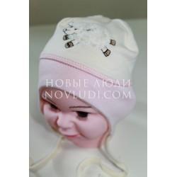 Трикотажная двойная шапочка для новорожденной Pilguni