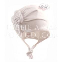 Белая шапочка для новорожденной PAOLKA Sofija