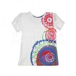 Белая футболка с бисером и стразами Besta+