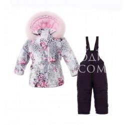 LEOPARD Костюм зимний куртка полукомбинезон с натуральной опушкой Pilguni
