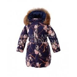 GRACE Синее пальто для девочки с натуральным мехом Pilguni
