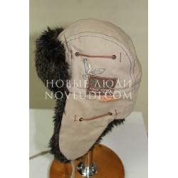 Бежевая зимняя шапка ушанка для мальчика Trestelle