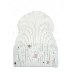 Белая шапка с бабочками и стразами Бонита Mialt