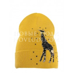 Саванна шапка для девочки цвета горчицы