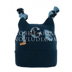 Шапка синего цвета с узелками для мальчика Бармалей Mialt