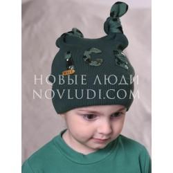 Весенняя шапочка для мальчика Бармалей серо-зеленого цвета Mialt