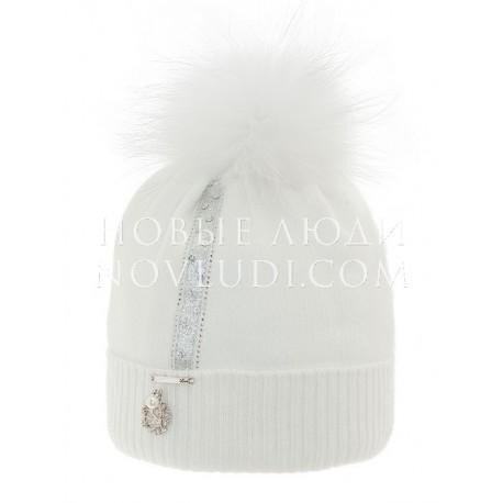Зимняя шапка Сорбет белого цвета Mialt