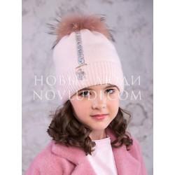 Розовая зимняя шапка Сорбет для девочки Mialt