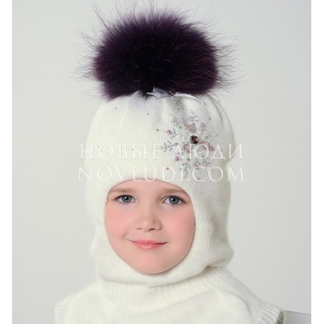 Зимний шлем для девочки Перламутр Mialt