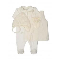 Подарочный набор для новорожденной девочки ТриЯ (3 предмета) с велюровым сарафаном